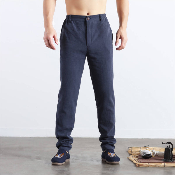 Men Pure Color Cotton and Linen Straight Type Jogger Pants
