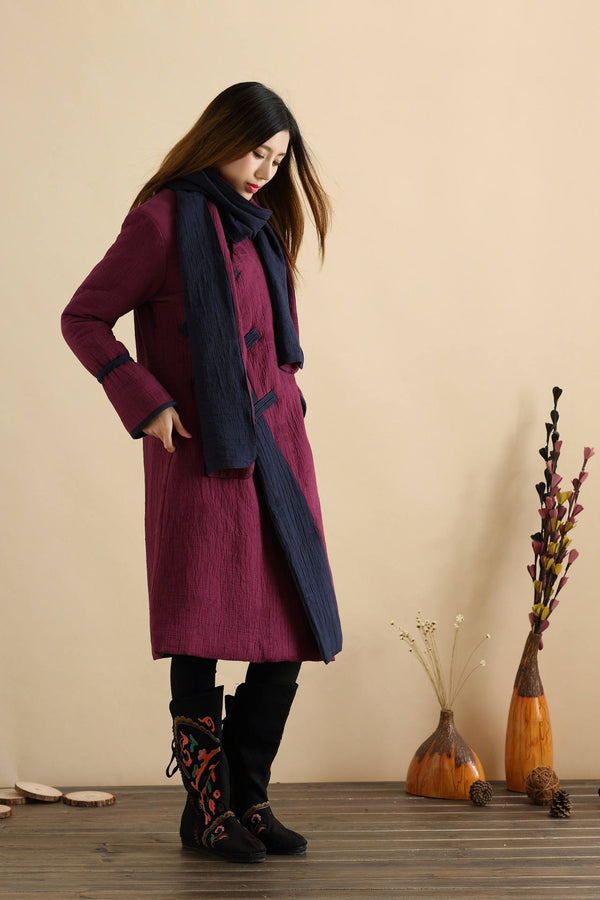 Women New Style Linen and Cotton Quilted Coat