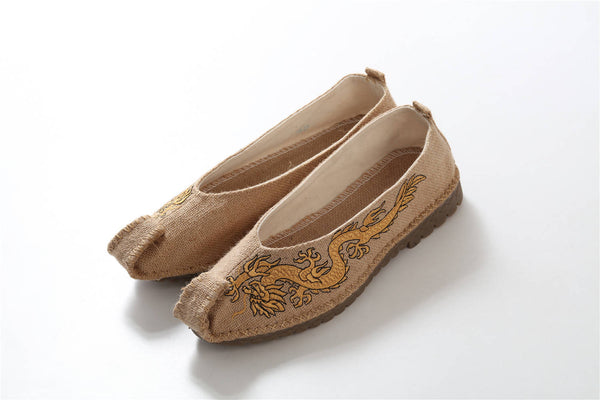 Chinese Style Ancient Animal (Dragon) embroidery Linen Shoes