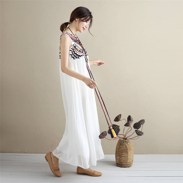 Eastern Style Women Sleeveless Ankle Length Embroidery Chiffon Dress