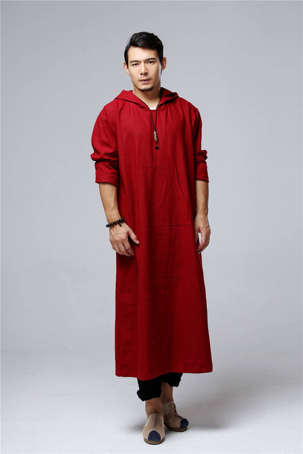 Men Pullover Loose Coat KungFu Style Linen and Cotton Long Tunics Hoodies