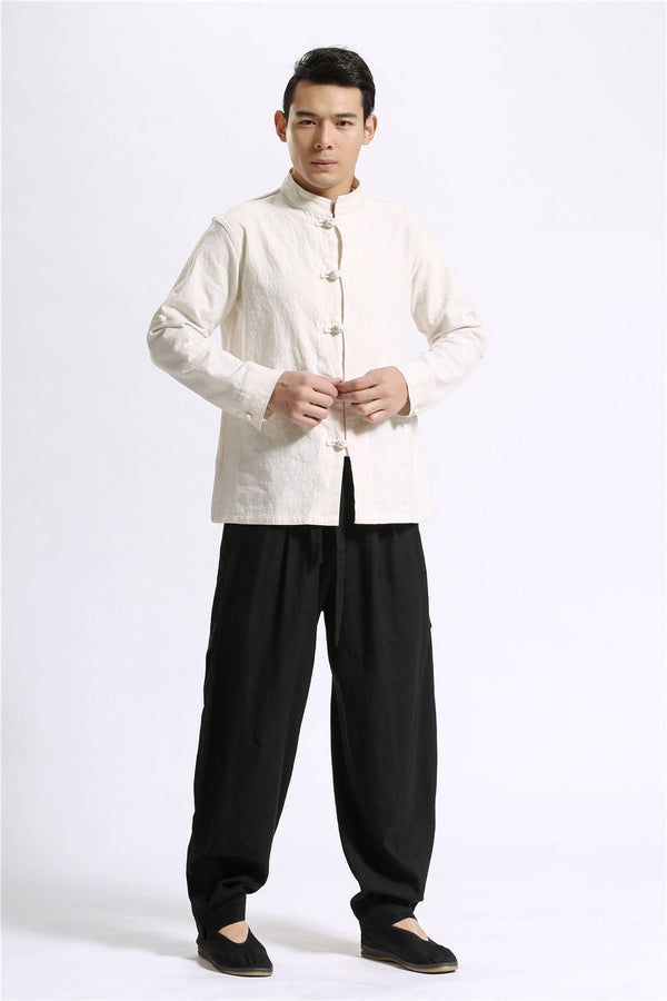 Men Casual Pure Color Loose Cotton and Linen KungFu Pants