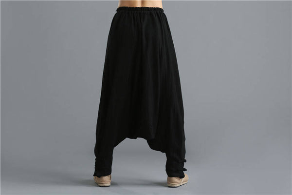 Men Casual Pure Color Loose Cotton and Linen Hanging Crotch Dancing Pants