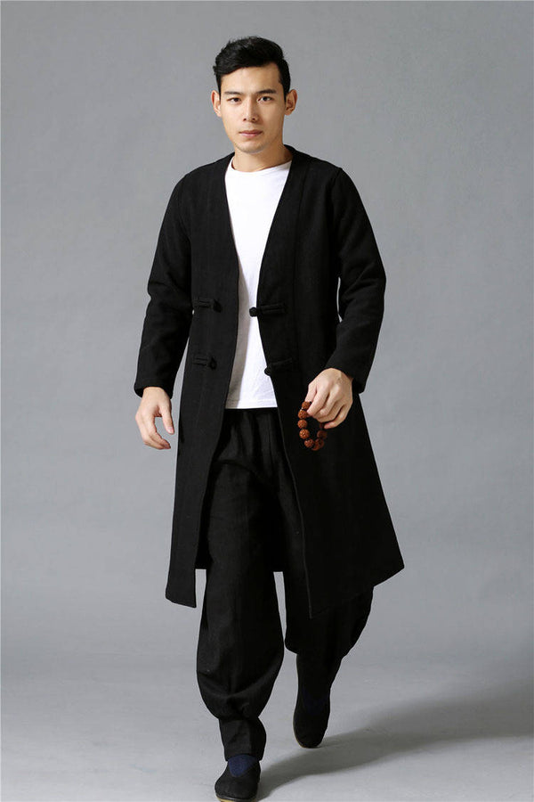 Men Retro Hanfu Style Linen and Cotton Jacket