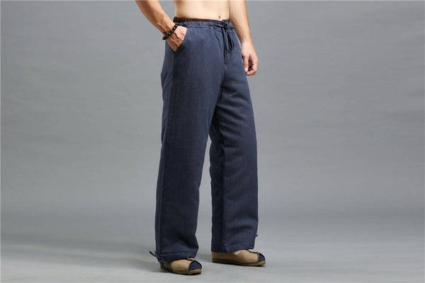 Men Casual Pure Color Cotton and Linen Loose KungFu Quilted Pants | Leg Opening with Elastic Band