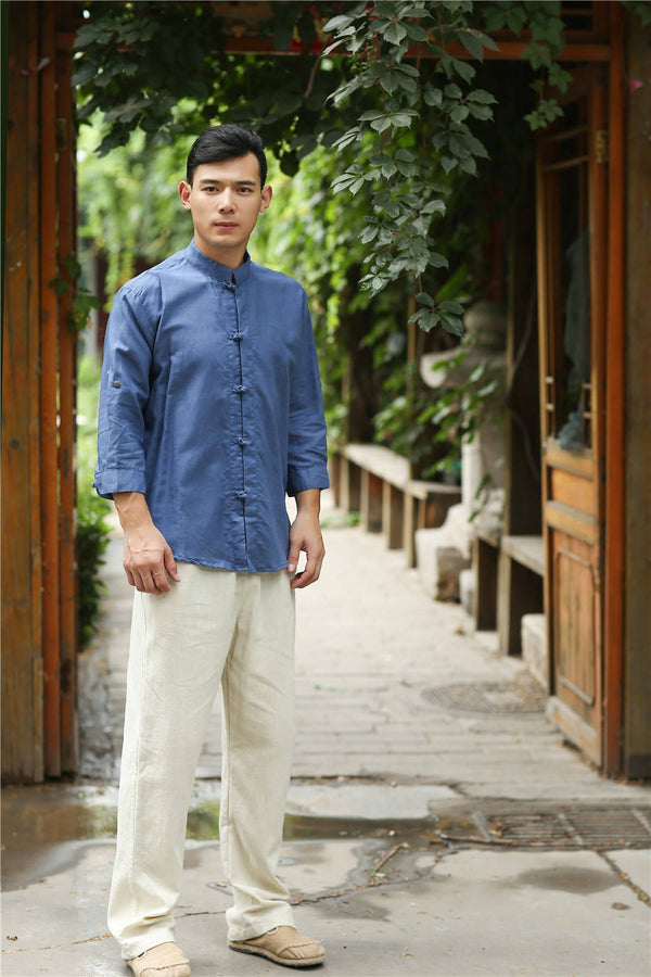 Men Retro Style Hanfu Linen and Cotton Shirts Tops