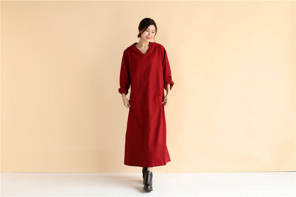 Womens Linen and Cotton Dress – Loose Coat Style Linen and Cotton Women's Tea Lenght Dress Hoodie