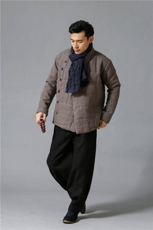 Men Modern Style Linen and Cotton Quilted Jacket
