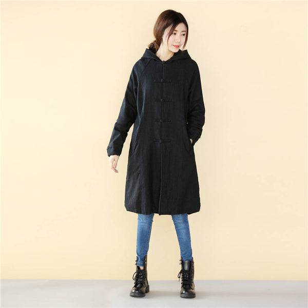 Women Simple Pure Color Linen and Cotton Knee Length Coat with Hoodie