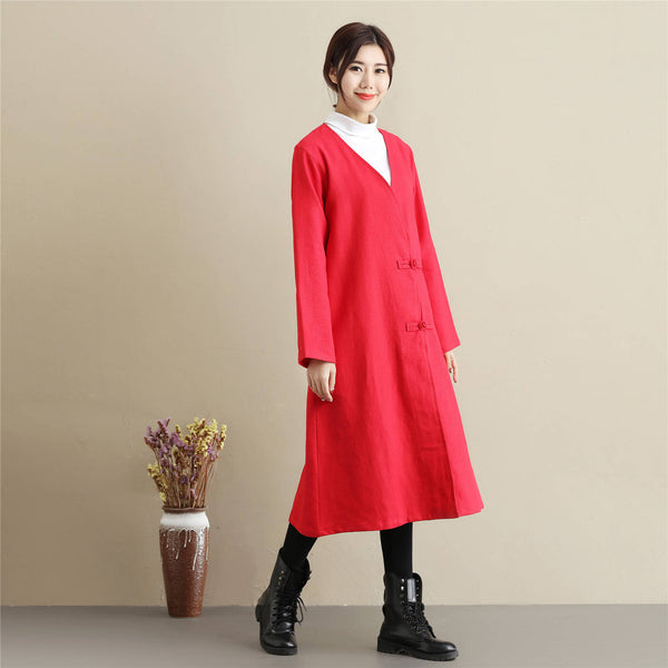 Women Asian Style Causal Long Loose Linen and Cotton Coat