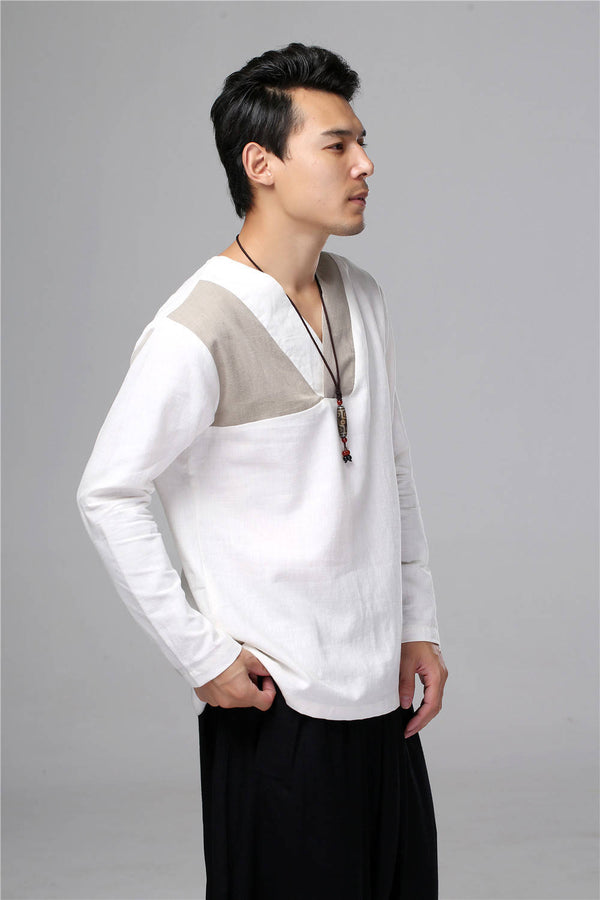 Men New Style Hangfu Tai Chi Style Linen and Cotton T-shirts Tops