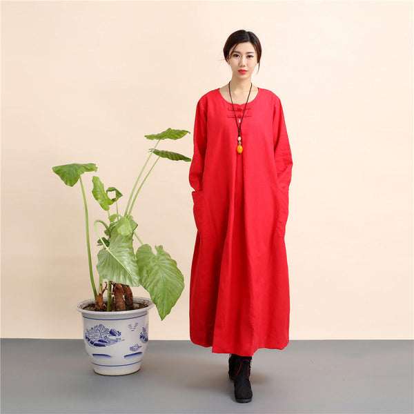 Women New Loose Style Hanfu Linen and Cotton Tea Zen Dress