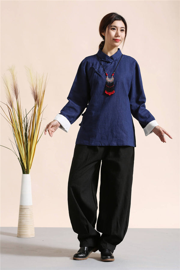 Women Traditional Chinese Style Linen and Cotton KungFu TaiChi Hanfu Tunics