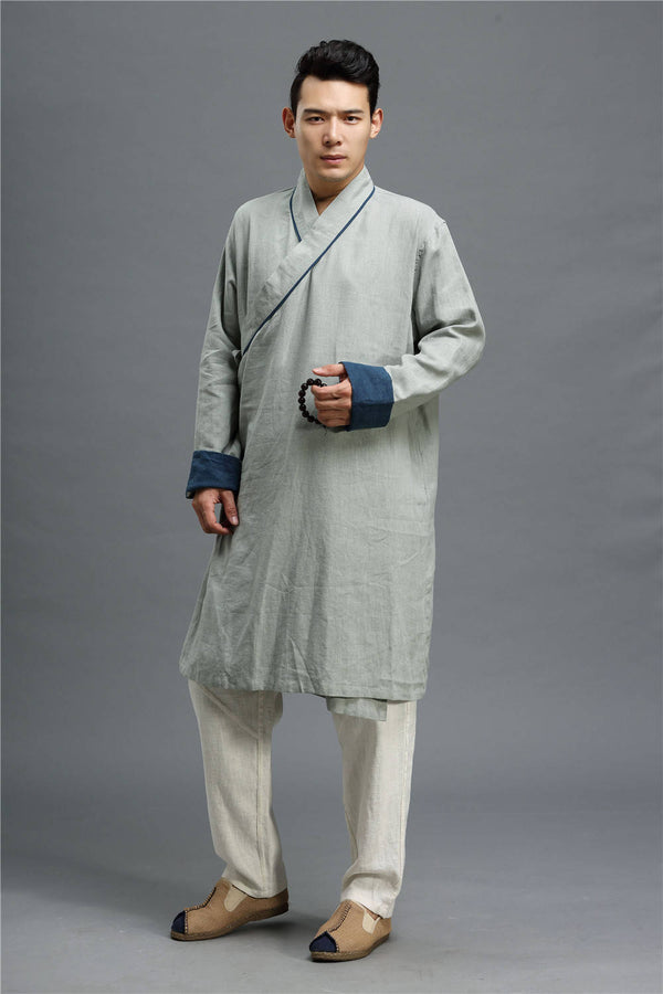 Men Asian Zen Style Long-sleeved Linen and Cotton Cheongsam