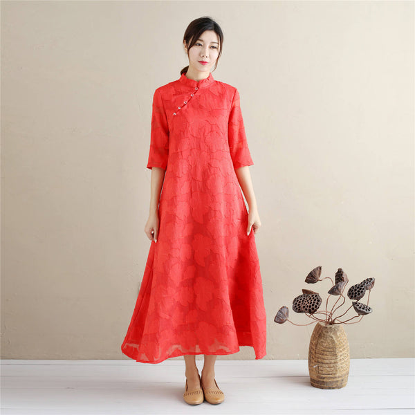 Women Eastern Style Linen and Cotton Tea Length Zen Dress