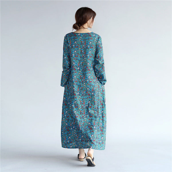 Women Eastern Style Tea Length Printed Hangfu Type Linen and Cotton Dress