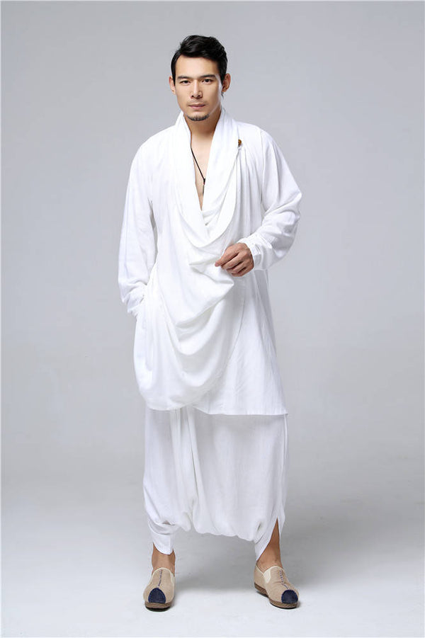 Men Eastern Zen Style Kung Fu Tai Chi Hanfu Zen Linen and Cotton Clothes Set (Top + Pant)