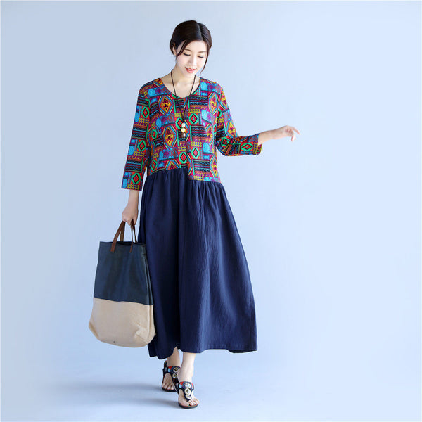 Women Asian Style Printed Causal Tea Length Linen and Cotton Dress