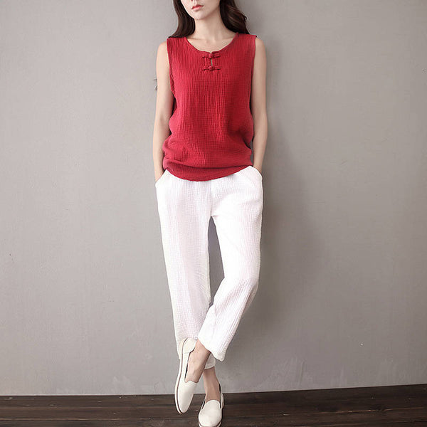 30% Sale!!! Women Simple Casual Linen and Cotton Cropped Pants