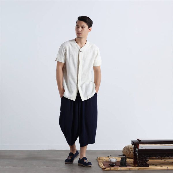 Men Casual Simple Pure Color Cotton and Linen Hanging Crotch Cropped Pants