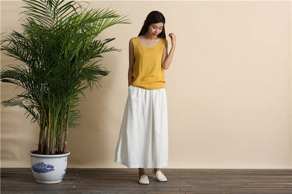 Women Retro Pure color Linen and Cotton Ankle Length Bud Skirt