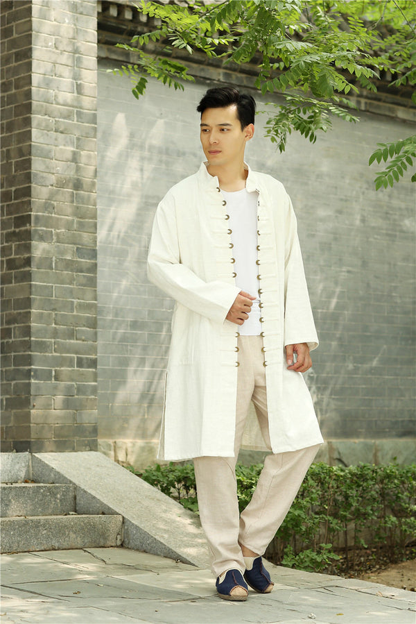 Men Asian Traditional Style KungFu Copper Buckle Linen and Cotton Tunic Coat