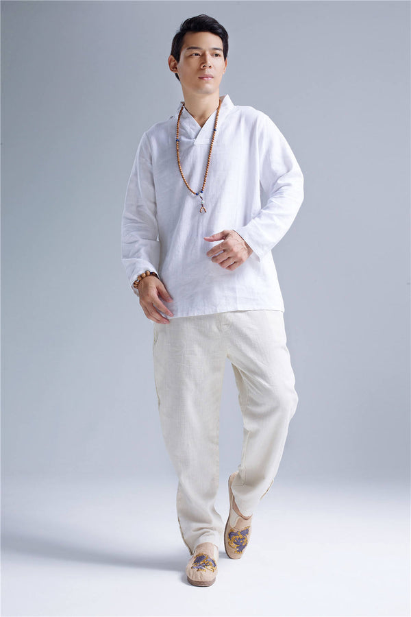 Men Zen Style Hangfu White Linen and Cotton T-shirts Tops