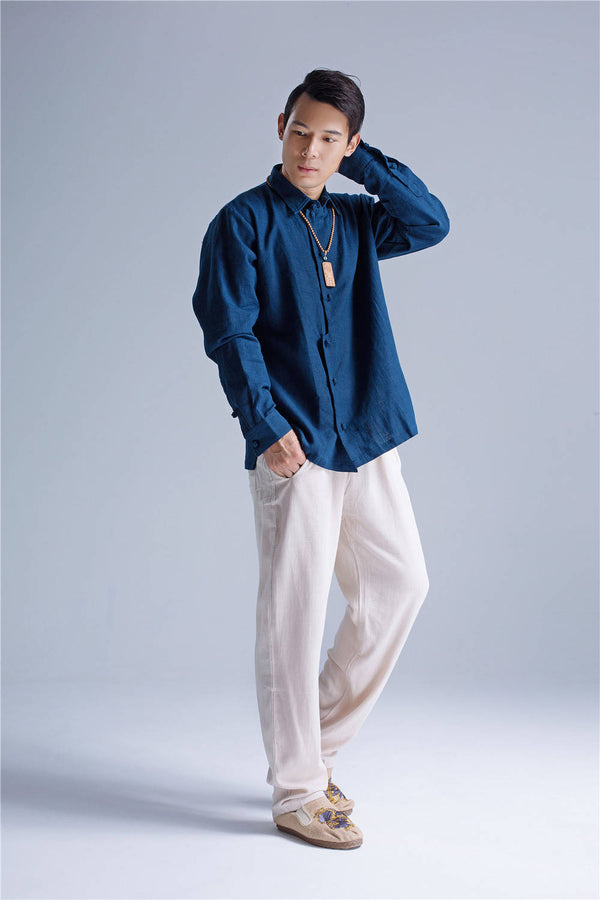 Men Asian Hanfu Style Linen and Cotton Shirt Top