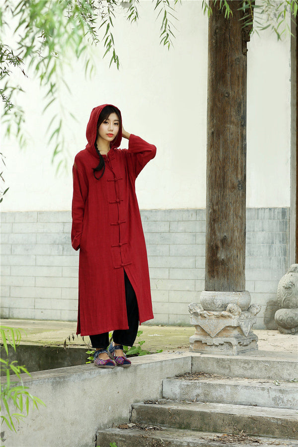 Women Simple Pure Color Linen and Cotton Witch Style Coat Hoodie