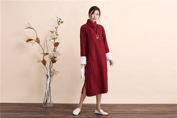 Women Traditional Chinese Style Linen and Cotton Dress