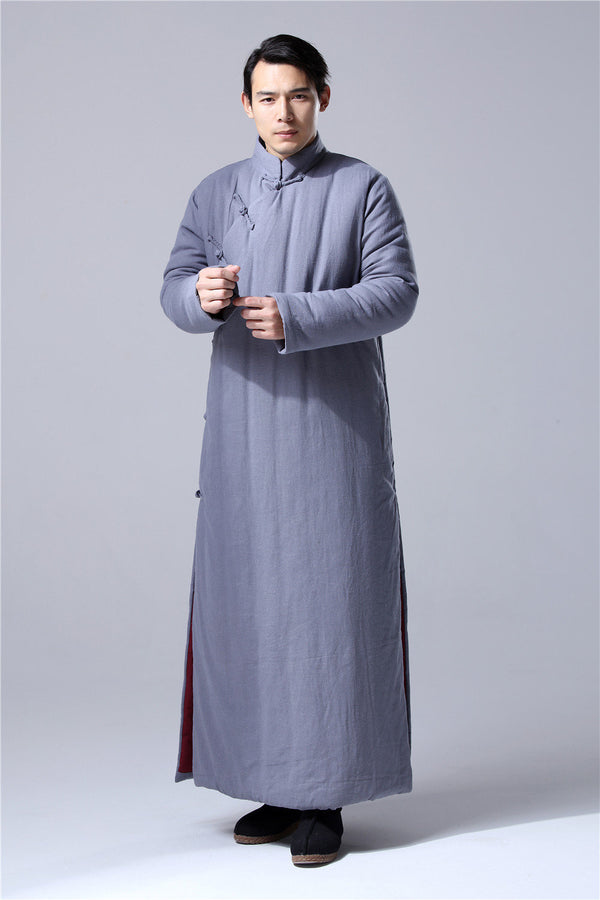 Men Chinese Traditional Style KungFu TaiChi Hanfu Quilted Linen and Cotton Long Tunic