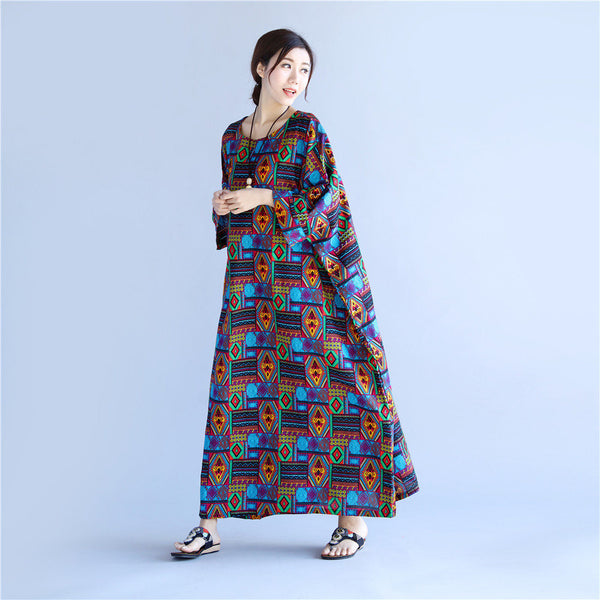 Women Linen and Cotton Reto Type Printed Ankle Length Dress