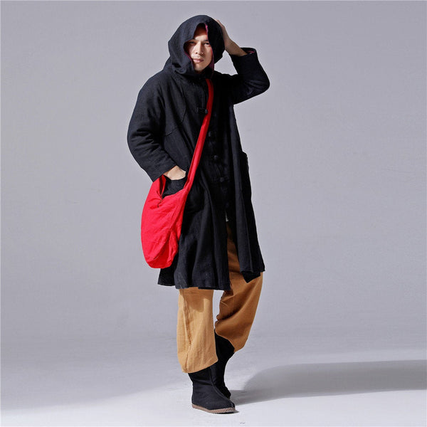 Men Simple Pure Color Witch Style Linen and Cotton Coat Hoodie (Black Color Only)