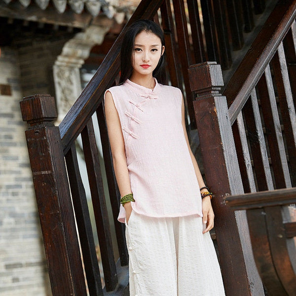 Linen and Cotton Retro Chinese Style Sleeveless Blouses – Retro Skinny Style Women Sleeveless Blouses