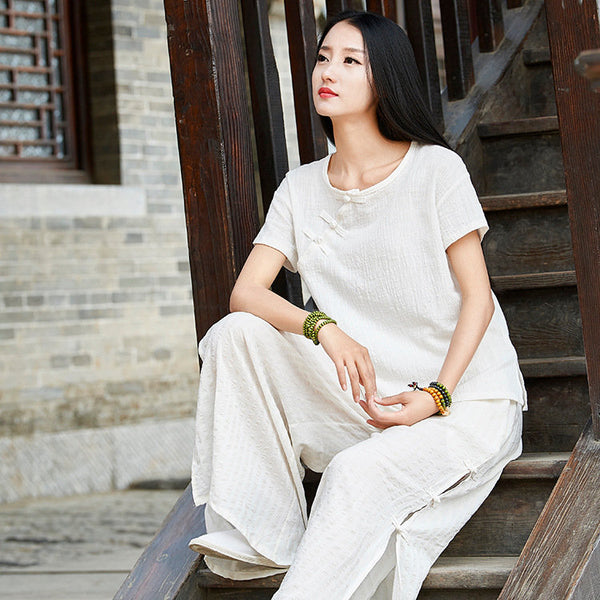 Linen and Cotton Retro Chinese Style Blouses – Simple Pure Color Retro Skinny Style Women Short Sleeve Blouses