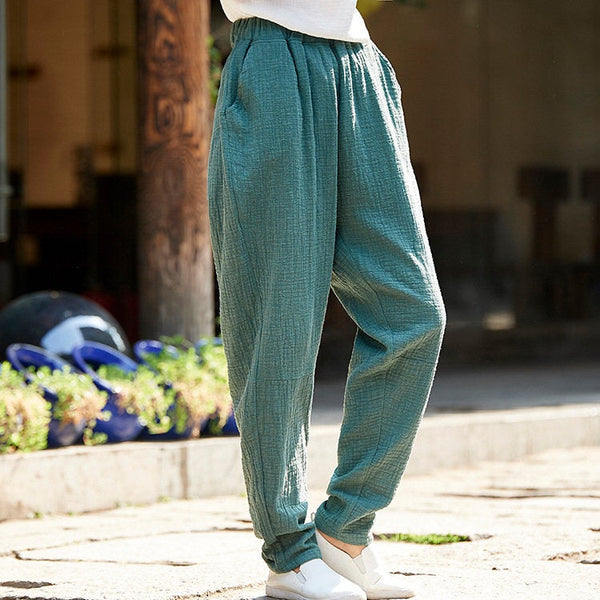 Women Casual Linen and Cotton Tapered Pants