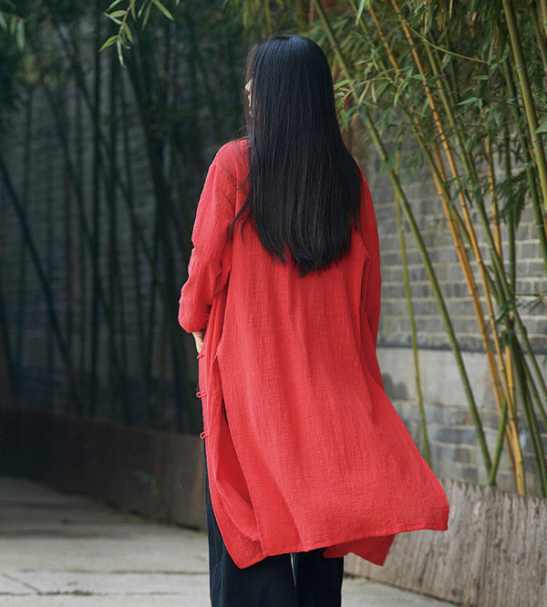 Women Linen and Cotton Asian KungFu Style Cardigan Coat