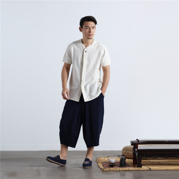 Men Casual loose Round Neck Short Sleeve Hanfu Kungfu Linen and Cotton Tops