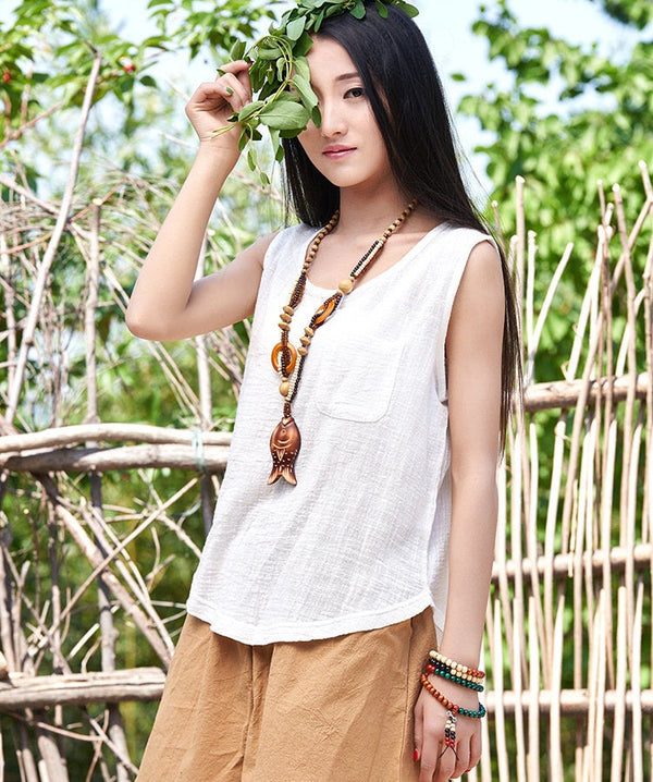 Women cotton and linen Sleeveless summer thin loose vest style t-shirt with pocket