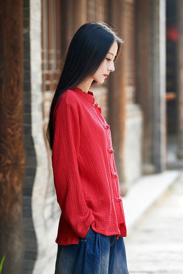 2019 Autumn NEW! Simple Retro Style Women Long Sleeve Linen Cardigan Blouses