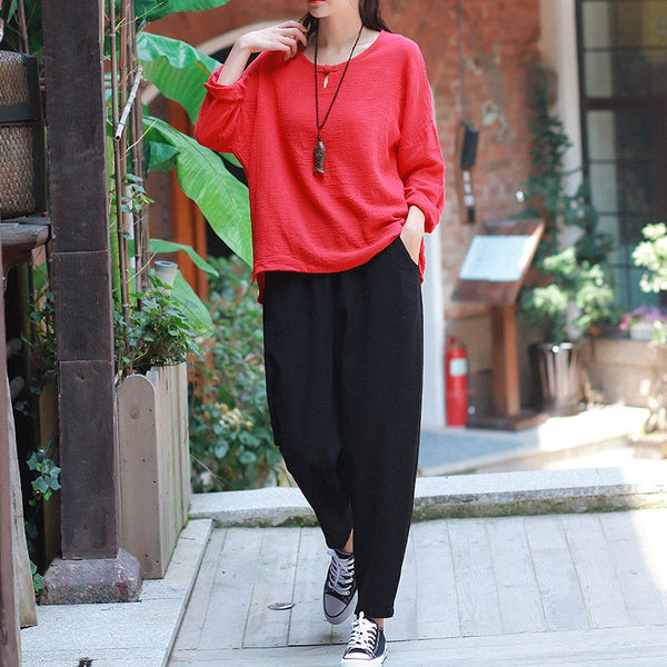 Women Casual Linen and Cotton Loose  Cropped Small Leg Pants