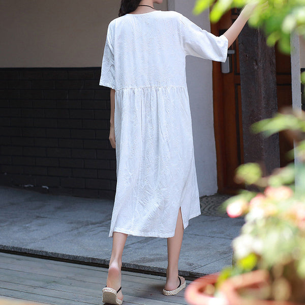 Jacquard Dress/ Tea Length Dress/ Simple Dress/ Loose Dress/ Summer Dress/Maternity dress/ Everyday dress/ Casual dress