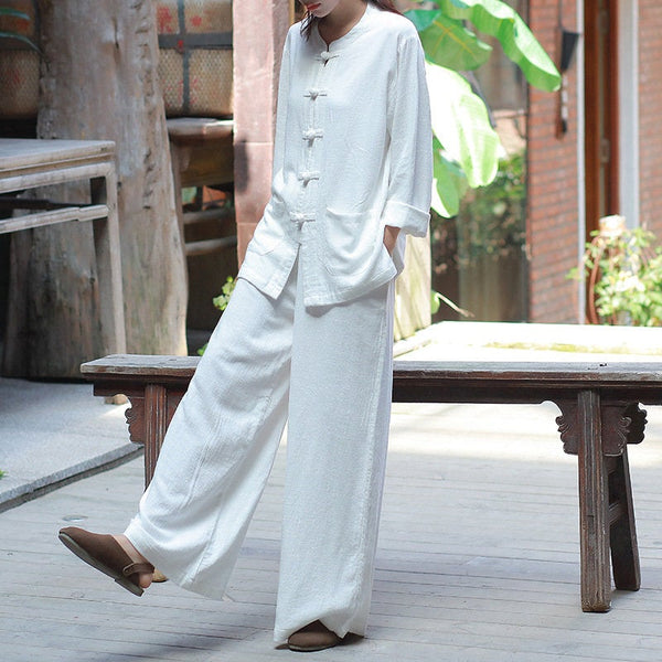 Kung Fu Style Women Long Sleeve Linen Cardigan Top and Pants Set
