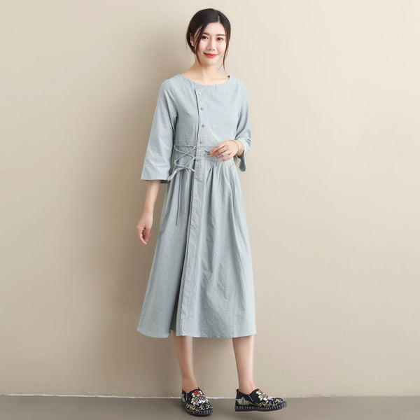 30% Sale!!! Women Simple Linen and Cotton Embroidered Dress – Simple Women Tea Length Jacquard Dress