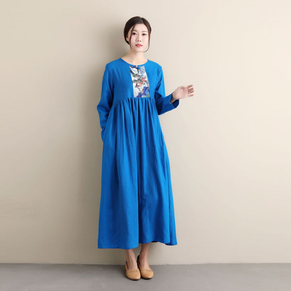 Women Ethnic Hanfu Style Linen and Cotton Tea Length Dress
