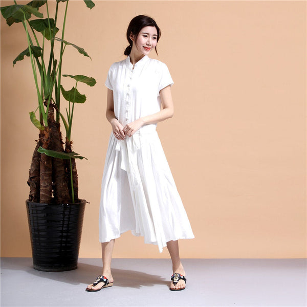 Shirt Dress/ Linen and Cotton Dress/ Summer Linen Dress/ Tea Length Dress/ Casual dress/ Printed Dress/ 2018 Dress