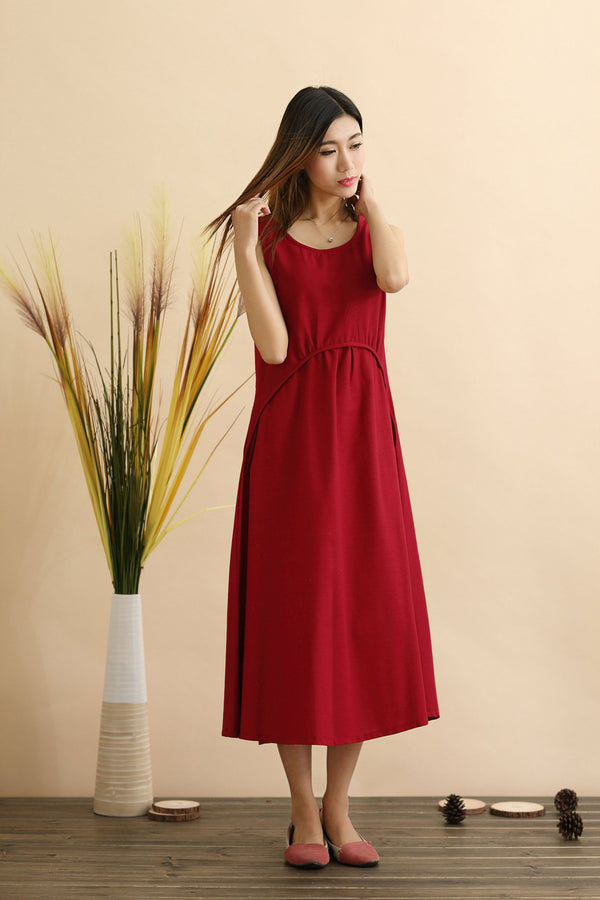 Linen Dress/ Pouf Dress/ Summer Linen Dress/ Tea Length Dress/ Casual dress/ Green Dress/ Red Dress/ Blue Dress/ Sleeveless Dress