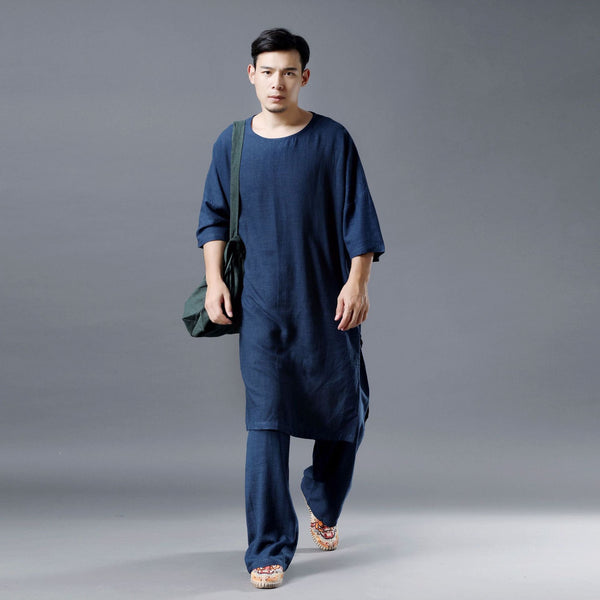 Men Simple Loose Comfort Tunic Style Linen and Cotton Short Sleeve Shirt Tops and Pants Set