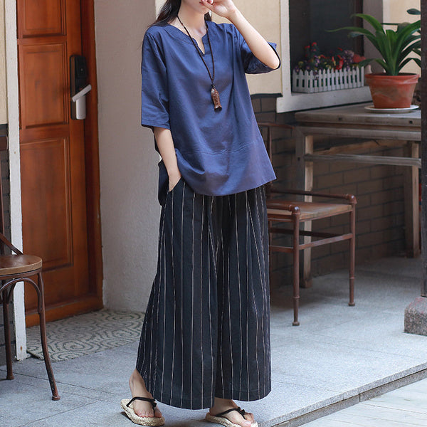 Women Yoga Palazzo Style Linen and Cotton Wide Leg Cropped Pants