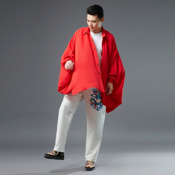 Men Red Loose Linen and Cotton Linen Cardigan Shirt